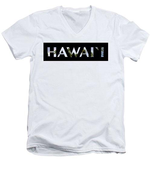 Hawaii Letter Art Men's V-Neck T-Shirt by Saya Studios