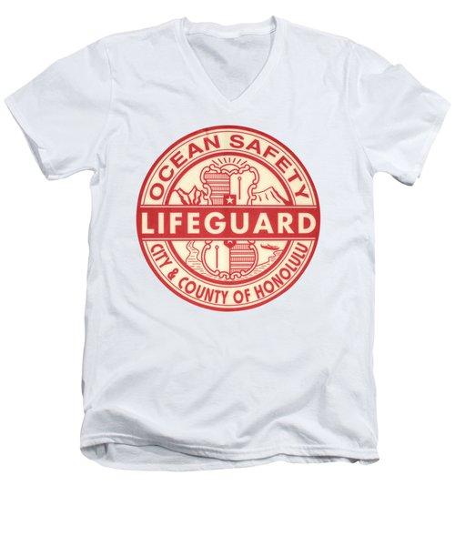 Hawaii Lifeguard Logo Men's V-Neck T-Shirt by Mr Doomits