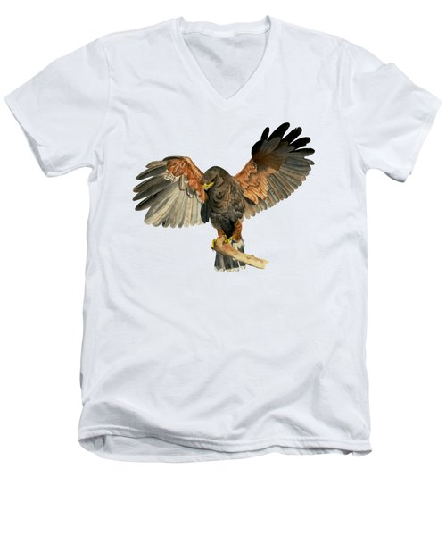 Hawk Flapping Wings Watercolor Painting Men's V-Neck T-Shirt