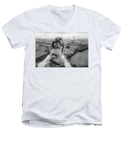 Men's V-Neck T-Shirt featuring the photograph Hawker Typhoon Rocket Attack Bw Version by Gary Eason