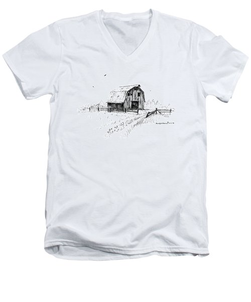 Hay Barn With Broken Gate Men's V-Neck T-Shirt