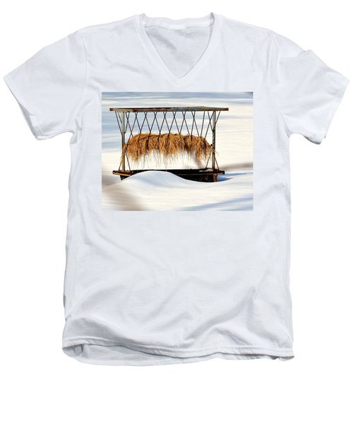 Hay Feeder In Winter Men's V-Neck T-Shirt