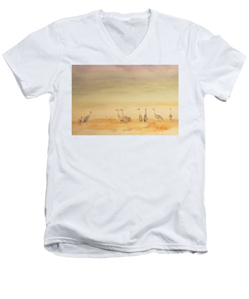 Hazy Days Cranes Men's V-Neck T-Shirt