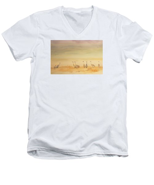 Hazy Days Cranes Men's V-Neck T-Shirt