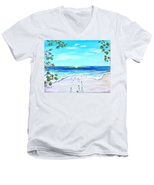 Men's V-Neck T-Shirt featuring the painting Headed Home by Dawn Harrell