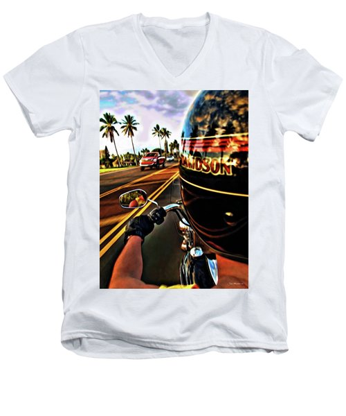 Heading Out On Harley Men's V-Neck T-Shirt by Joan  Minchak