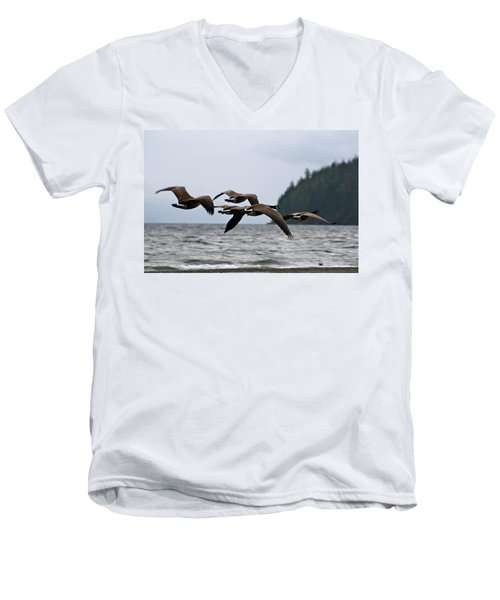 Men's V-Neck T-Shirt featuring the photograph Heading South by Cathie Douglas