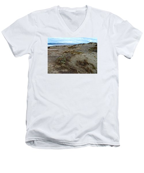Headlands Mackerricher State Beach Men's V-Neck T-Shirt by Amelia Racca