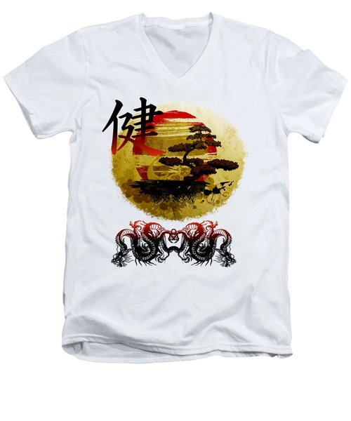 Health Oriental Symbol Men's V-Neck T-Shirt
