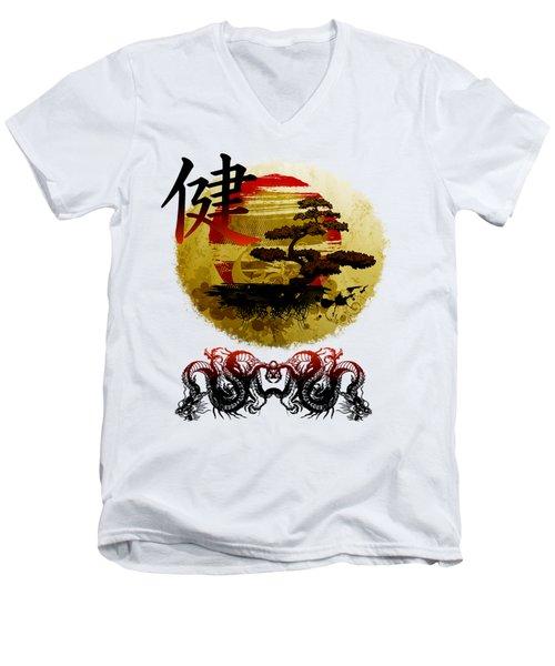 Health Oriental Symbol Men's V-Neck T-Shirt