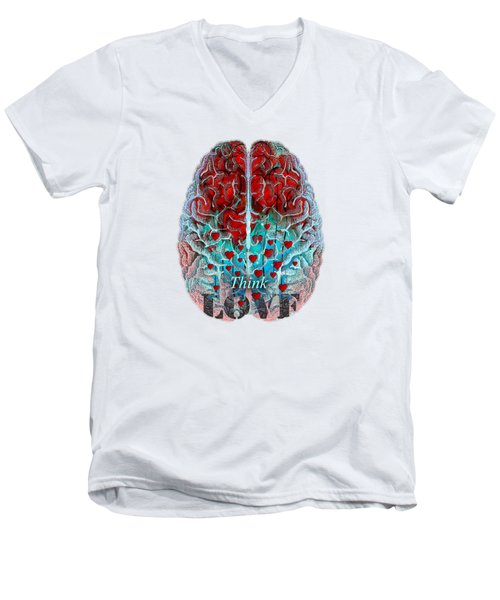 Heart Art - Think Love - By Sharon Cummings Men's V-Neck T-Shirt