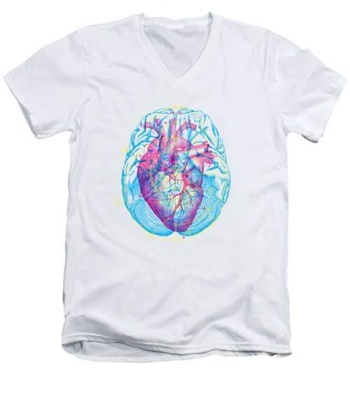 Heart Brain Men's V-Neck T-Shirt