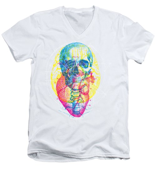 Heart Brain Skull Men's V-Neck T-Shirt