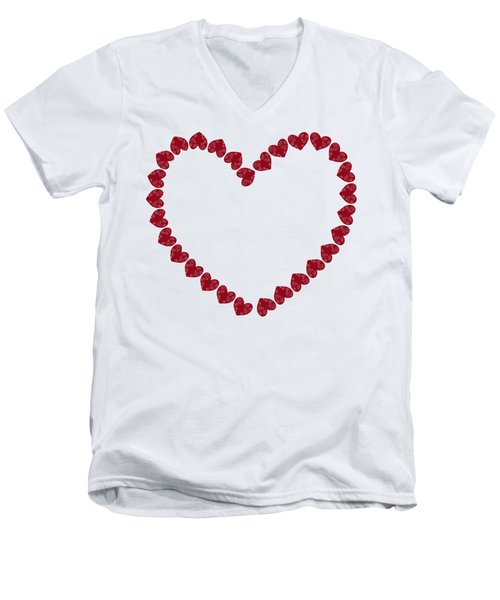 Heart From Red Hearts Men's V-Neck T-Shirt by Frank Tschakert