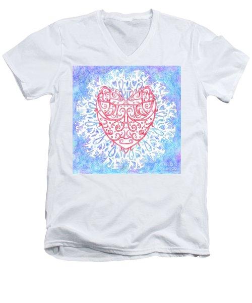 Heart In A Snowflake II Men's V-Neck T-Shirt by Lise Winne