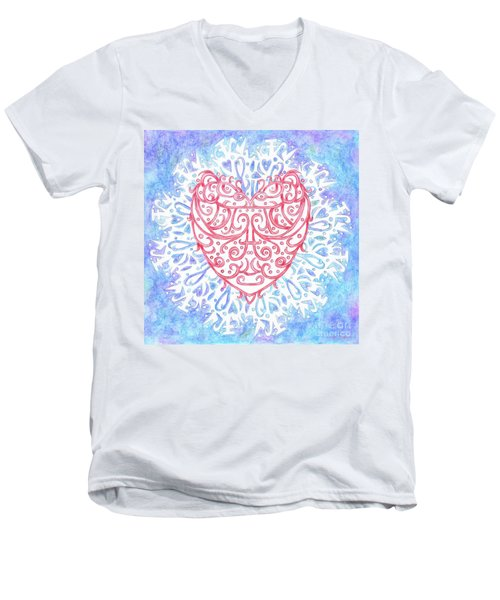 Heart In A Snowflake II Men's V-Neck T-Shirt