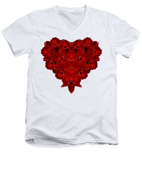 Heart Of Flowers T-shirt Men's V-Neck T-Shirt by Edward Fielding