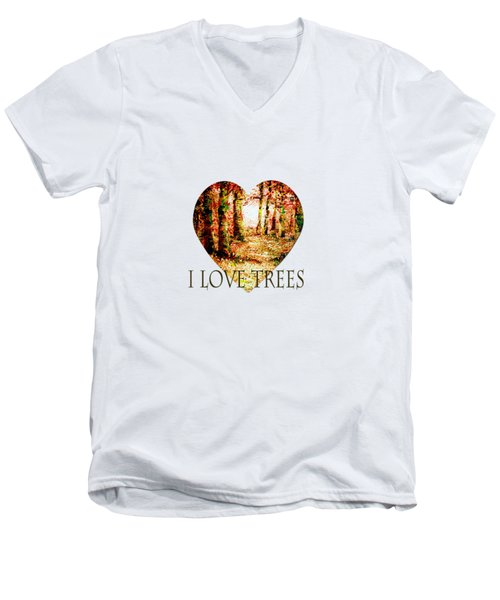 Heart Of The Forest-abstract Painting By V.kelly Men's V-Neck T-Shirt