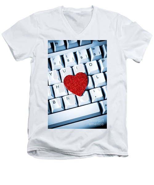Heart On Keyboard Men's V-Neck T-Shirt