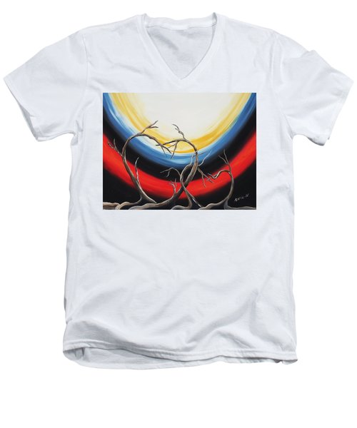 Men's V-Neck T-Shirt featuring the painting Hearts by Edwin Alverio