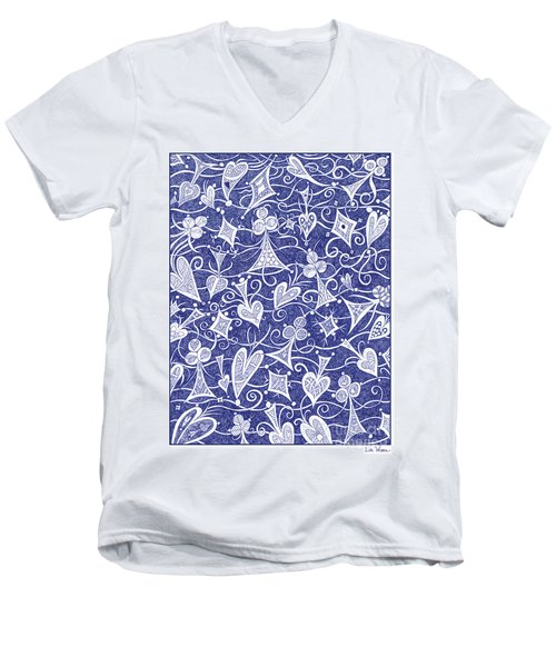 Hearts, Spades, Diamonds And Clubs In Blue Men's V-Neck T-Shirt