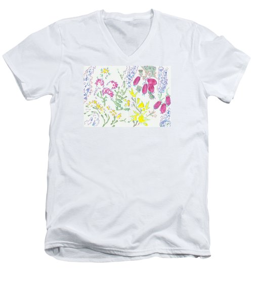 Heather And Gorse Watercolor Illustration Pattern Men's V-Neck T-Shirt