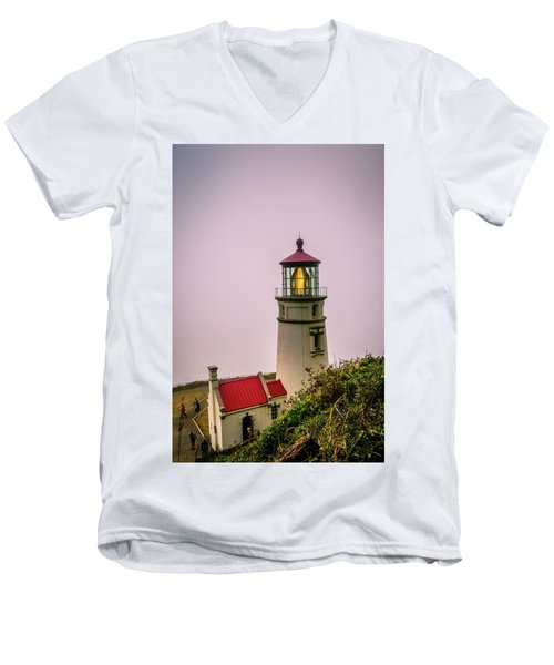 Heceta Head Lighthouse In The Fog Men's V-Neck T-Shirt