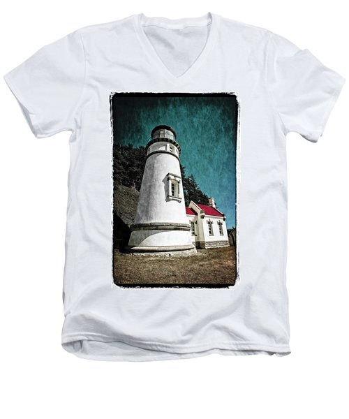 Hecitia Head Lighthouse Men's V-Neck T-Shirt by Jeffrey Jensen