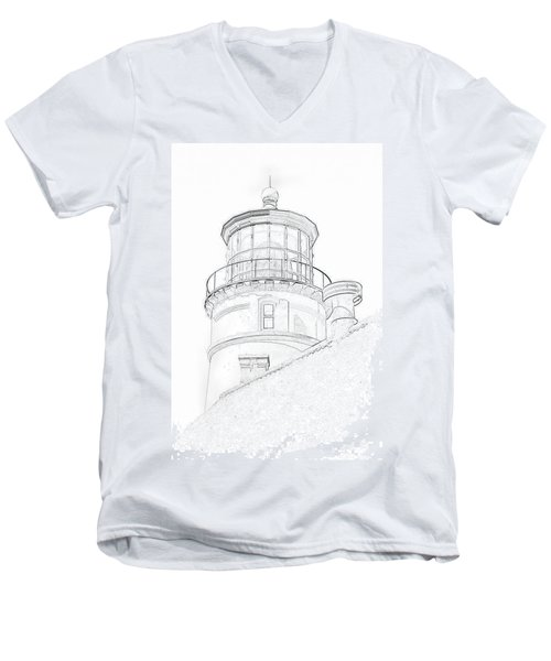 Hecitia Head Lighthouse Sketch Men's V-Neck T-Shirt by Jeffrey Jensen