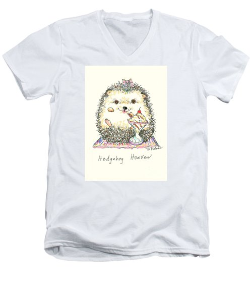 Hedgehog Heaven Men's V-Neck T-Shirt by Denise Fulmer