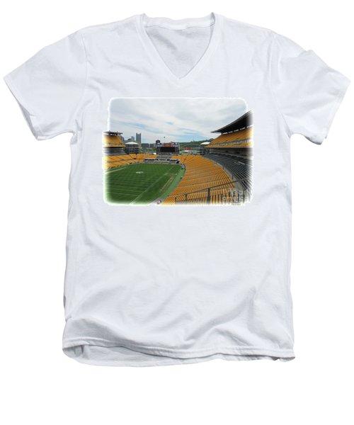 Heinz Stadium With Pittsburgh Skyline Men's V-Neck T-Shirt