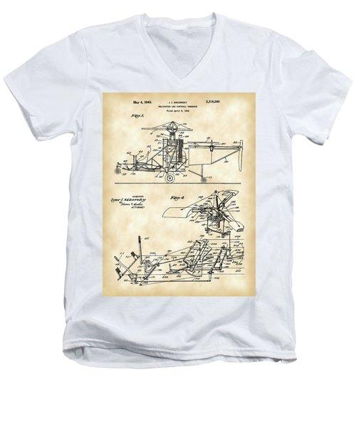 Helicopter Patent 1940 - Vintage Men's V-Neck T-Shirt
