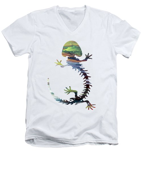 Hellbender Skeleton Men's V-Neck T-Shirt by Mordax Furittus