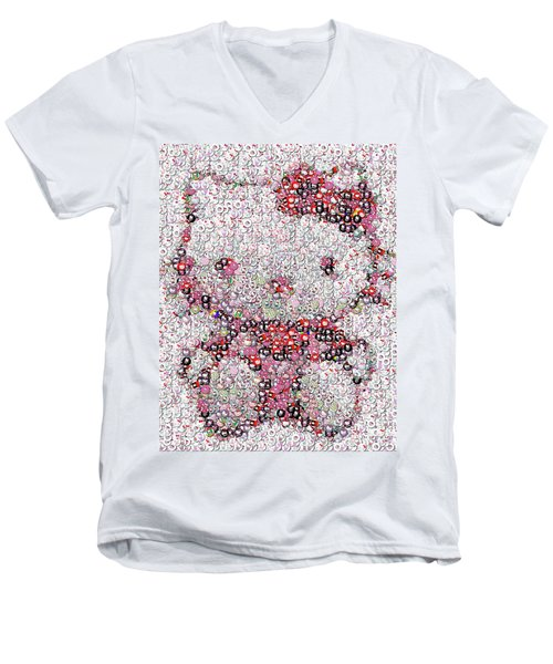 Hello Kitty Button Mosaic Men's V-Neck T-Shirt