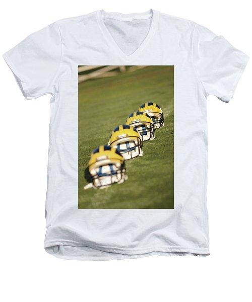Helmets On Yard Line Men's V-Neck T-Shirt