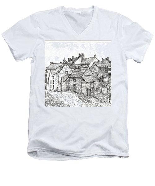Men's V-Neck T-Shirt featuring the drawing Hemsley Village - In Yorkshire England  by Carol Wisniewski