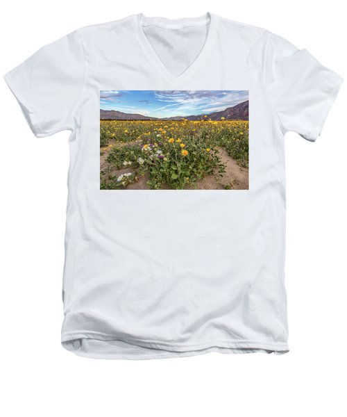 Men's V-Neck T-Shirt featuring the photograph Henderson Canyon Super Bloom by Peter Tellone