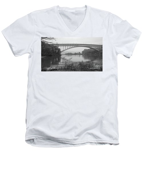 Men's V-Neck T-Shirt featuring the photograph Henry Hudson Bridge  by Cole Thompson