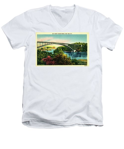 Men's V-Neck T-Shirt featuring the photograph Henry Hudson Bridge Postcard by Cole Thompson