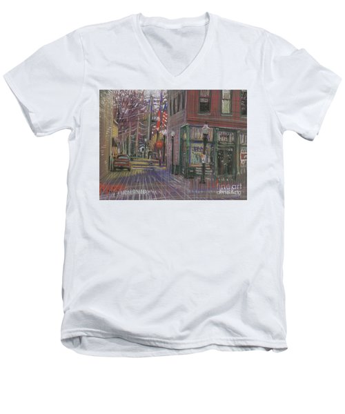 Men's V-Neck T-Shirt featuring the painting Henry's by Donald Maier