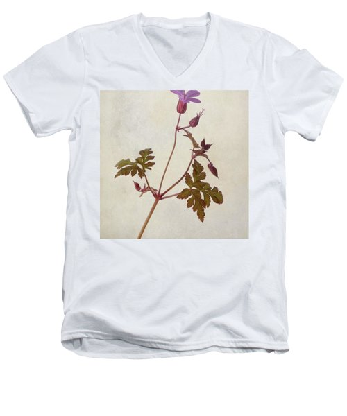 Herb Robert - Wild Geranium  #flower Men's V-Neck T-Shirt by John Edwards