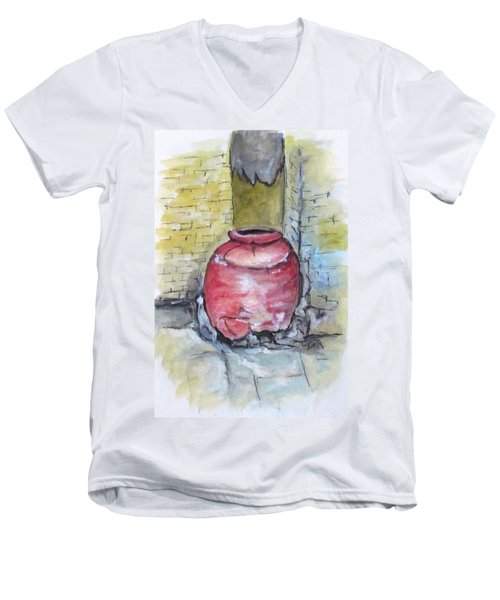 Herculaneum Amphora Pot Men's V-Neck T-Shirt by Clyde J Kell