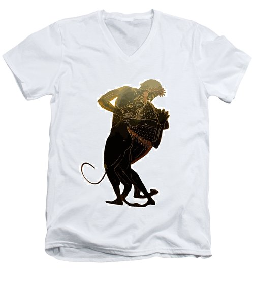 Hercules And The Nemean Lion Men's V-Neck T-Shirt