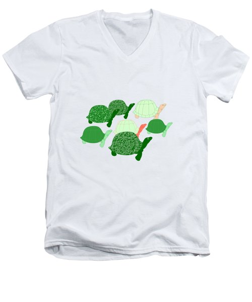 Herd Of Turtles Pattern Men's V-Neck T-Shirt by Methune Hively