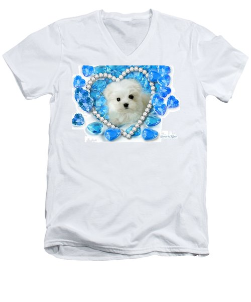 Hermes The Maltese And Blue Hearts Men's V-Neck T-Shirt