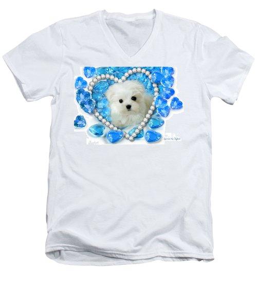 Hermes The Maltese And Blue Hearts Men's V-Neck T-Shirt