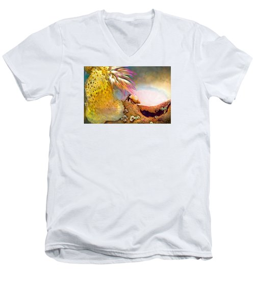 Men's V-Neck T-Shirt featuring the photograph Hermit Crab Landscape by Adria Trail