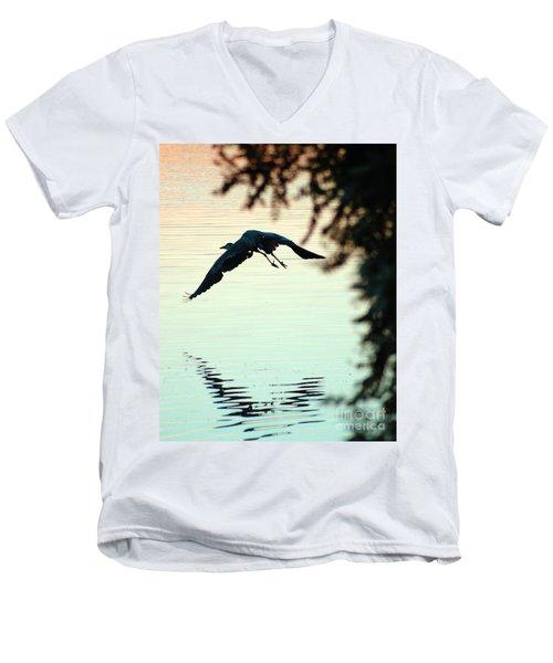Heron At Dusk Men's V-Neck T-Shirt