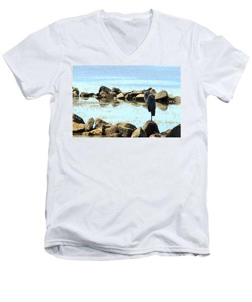 Heron On The Rocks Men's V-Neck T-Shirt