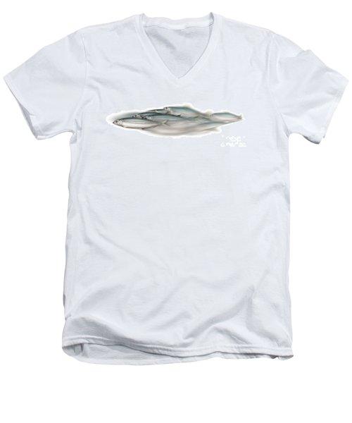 Herring School Of Fish - Clupea - Nautical Art - Seafood Art - Marine Art - Game Fish Men's V-Neck T-Shirt